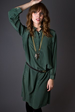 dark green striped silk telltale hearts vintage dress