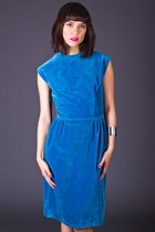 Vintage Sheath Dress in Blue Velvet