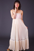 Vintage Pleated Lace Maxi Slip in Ivory