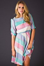 Vintage Pastel Stripe Day Dress