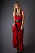 Ruby-red-crepe-maxi-telltale-hearts-vintage-dress