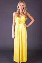 Vintage Lemon Yellow Maxi Dress