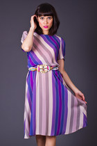 Vintage Sheer Striped Day Dress in Purple