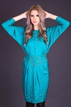 Vintage Beaded Silk Dress in Teal