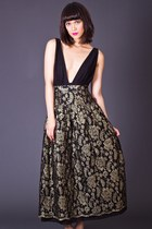Vintage Layered Lace Maxi Skirt in Gold & Black