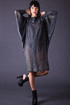 Vintage Sheer Batwing Dress in Silver