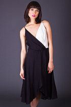 Vintage Draped Crepe Dress in Black & White