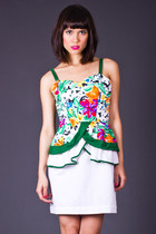 Vintage Tropical Print Peplum Dress