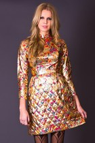 Vintage Metallic Brocade Mini Dress