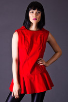 Vintage Velvet Peplum Tunic in Red