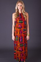 Vintage Abstract Halter Maxi
