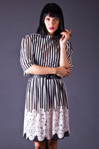 Vintage Sheer Stripe Day Dress in Black & White