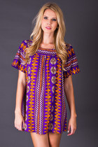 Vintage Tribal Print Mini in Purple & Orange
