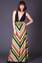 Vintage Chevron Stripe Maxi Skirt in Neon & Cream