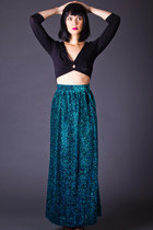 Vintage Sparkling Tinsel Maxi Skirt in Electric Blue