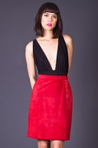 Vintage Perfect Pencil Skirt in Red Suede