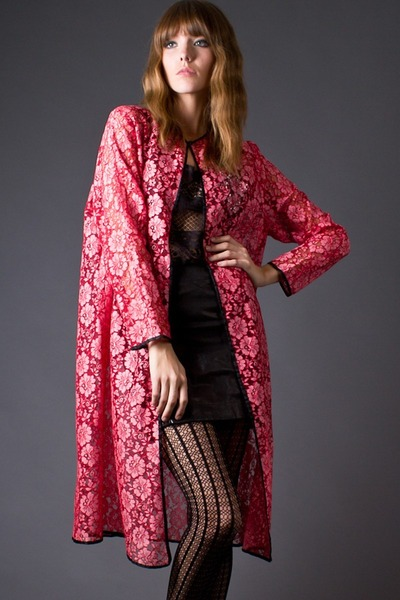 hot pink telltale hearts vintage coat