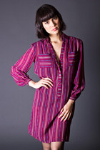 Vintage Sheer Striped Shirt Dress in Grape