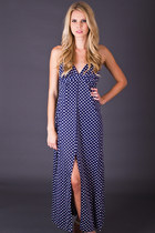 Vintage Polka Dot Halter Maxi in Navy & White