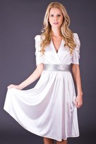 Vintage Sparkling White Day Dress with Silver Trim