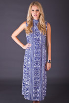 Vintage Tile Print Maxi Dress in Blue & White