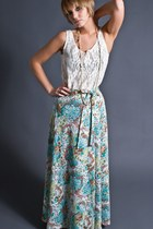 Vintage Pastel Floral Print Maxi Skirt