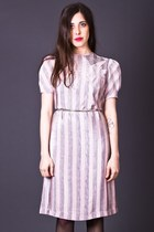 Vintage Puff Sleeve Dress in Pink & Grey