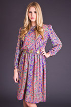 Vintage Multicolored Snake Print Dress