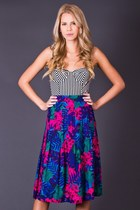 Vintage Floral Print Skirt in Shocking Pink & Blue