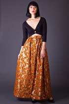 Vintage Gold Leaf Maxi Skirt in Orange