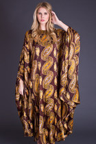 Vintage Paisley Print Caftan in Brown & Gold Satin