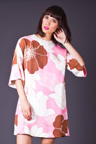 Vintage Floral Print Tunic in Pink & Brown