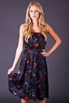 Vintage Black Rose Sundress