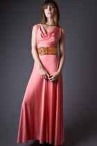 SALE 40% OFF! Vintage Draped Neck Maxi Dress in Peach