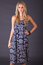 Vintage Boho Cotton Sundress in Navy