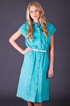 Vintage Ultrasuede Shirt Dress in Mint