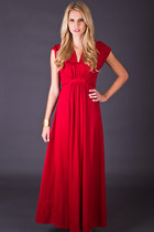 Vintage Empire Waist Maxi Dress in Crimson