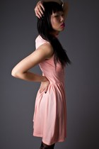 Peach High Neck Mini Telltale Hearts Vintage Dresses