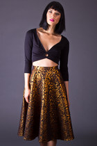 Vintage Metallic Floral Print Circle Skirt