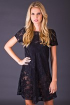 Vintage Sheer Floral Burnout Mini in Black