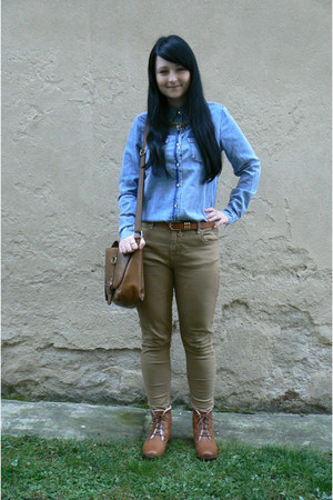 denim Tally Weijl shirt - brown Deichmann boots