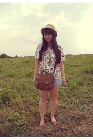 beige straw hat Gate hat - brown satchel H&M bag - sky blue denim asos shorts