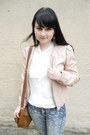 Brown-h-m-bag-sky-blue-thrifted-jeans-light-pink-tally-weijl-jacket