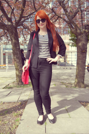 black Tally Weijl jeans - black thrifted blazer - red satchel H&M bag