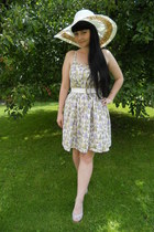 white Atmosphere dress - white c&a hat - light purple vintage sandals