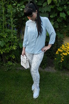 sky blue H&M shirt - sky blue New Yorker shoes - white thrifted jeans