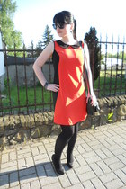 black Gate tights - carrot orange Tickled Pink dress - black New Yorker bag