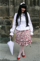 white Anna House shirt - ruby red Bata pumps - ruby red Porcelain Doll skirt