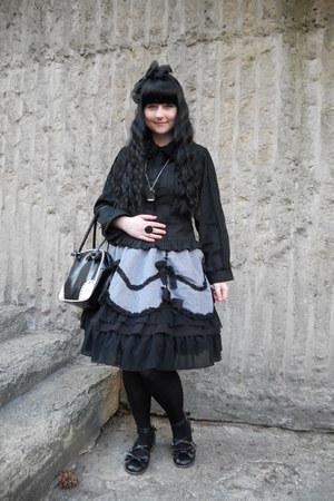 black Gate tights - black Bodyline bag - silver Fan Plus Friend skirt