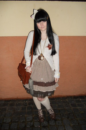 brown Gate bag - dark brown Orsay dress - cream Tally Weijl socks